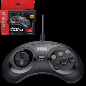 Retro-Bit SEGA MD Mini 6-B USB kontroler (črn)