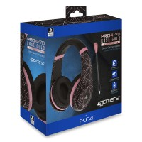 4GAMERS PS4 STEREO GAMING HEADSET ROSE GOLD EDITION - ABSTRACT BLACK