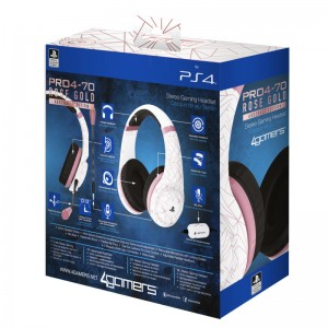 4GAMERS PS4 STEREO GAMING HEADSET ROSE GOLD EDITION - ABSTRACT WHITE