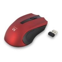 Miška Ewent Wireless Optical, 1000dpi, rdeča, USB (EW3226)