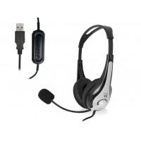 Slušalke Ewent, nadzor glasnosti, mikrofon, USB, EW3565 (EW3565)