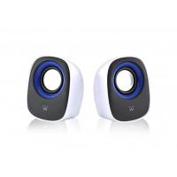 Zvočniki Ewent 2.0, 5W RMS, nadzor glasnosti, USB, črno-beli, EW3513 (EW3513)