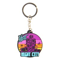 JINX Cyberpunk 2077 Visit Night City PVC Obesek za ključe MultiColor