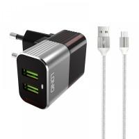 Komplet adapter LDNIO A2206 220v 2x USB, max 2,4A + micro kabel