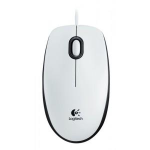 Miška Logitech M100, optična, bela, USB (910-005004)