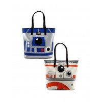 LOUNGEFLY STAR WARS R2D2 BB8 2 SIDED BIG FACE TOTE BAG