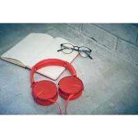 SONY slušalke + mikrofon MDR-XB550APR rdeče barve (SO-MDRXB550APR)
